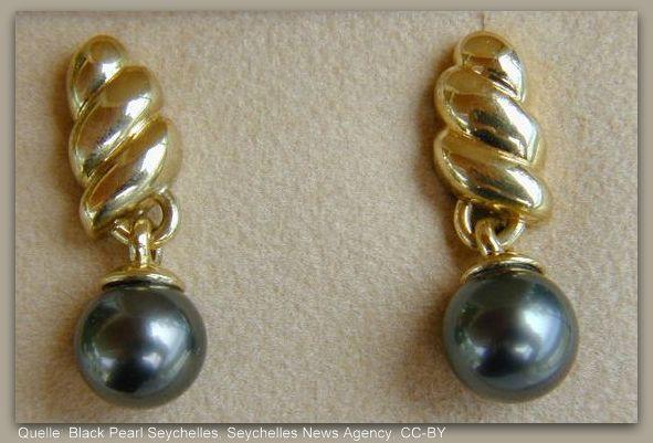 Souvenir von den Seychellen schwarze Perlen