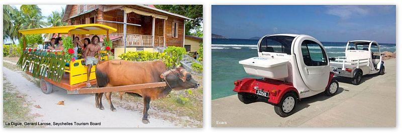 La Digue die Insel mit Ochsenkarren und Elektro Autos